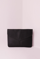 Missguided Black Textured Envelope Clutch Bag