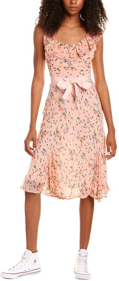 LoveShackFancy Faith Silk Midi Dress
