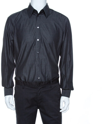 Dolce & Gabbana Grey Chambray Cotton Tailored Fit Shirt XL