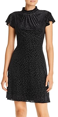 Adrianna Papell Velvet Leopard Fit-and-Flare Dress
