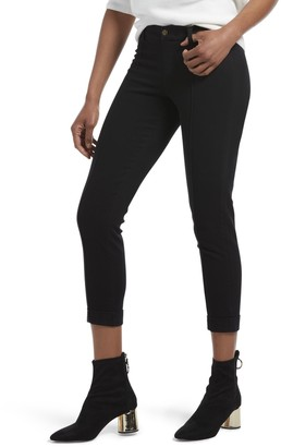 Hue Womens Cuffed Skinny Chino Skimmer Leggings (Black XL)