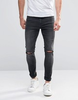 Asos Super Skinny Jeans With Knee Rips In Dark Gray Wash