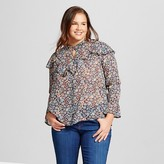 Flying Tomato Women's Plus Size Floral Print Ruffle Blouse Multicolored 1X Juniors')