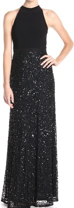 Adrianna Papell Women's Halter Jersey and Beaded Gown