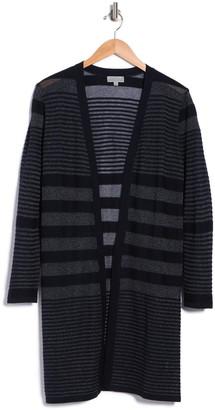 Joseph A Long Sleeve Open Shadow Stripe Cardigan