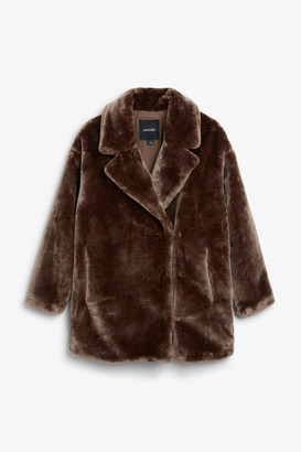 Monki Super-soft fluffy coat