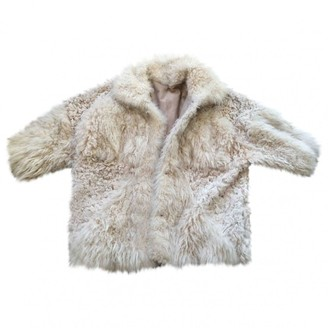 Gerard Darel Beige Mongolian Lamb Coat for Women
