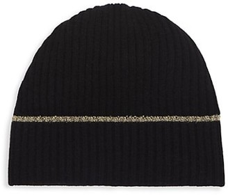 Saks Fifth Avenue Lurex-Trimmed Ribbed Cashmere Beanie