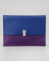 Proenza Schouler Large Bicolor Lunch Bag Clutch, Blue/Purple