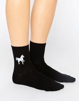 Asos Printed Transfer Unicorn & Poo Ankle Socks