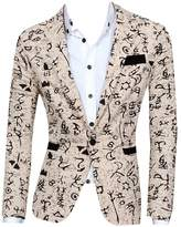 CFD Mens Casual Floral Print Open Front Blazer Jacket Coat XL