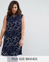 Koko Plus Longline Shirt In Abstract Print