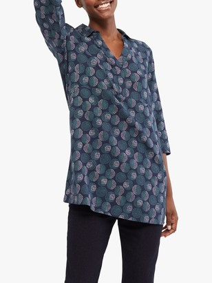 White Stuff Ada Spot Print Tunic Top, Dusted Navy Print