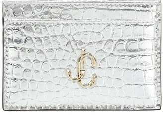 Jimmy Choo Umika snake-effect leather card case