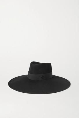 Maison Michel Pina Grosgrain-trimmed Wool-felt Fedora - Black