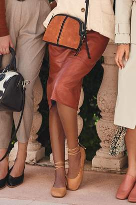 Next Womens Tan Croc Faux Leather A-Line Skirt - Brown
