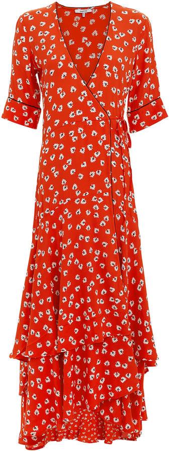 Ganni Big Apple Red Ruffle Hem Dress