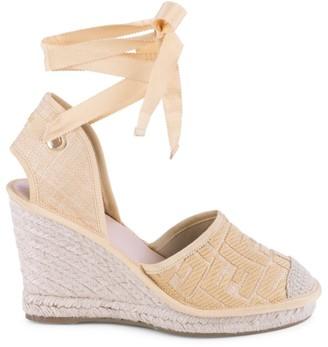 Fendi FF Logo Ankle-Wrap Espadrille Wedge Sandals