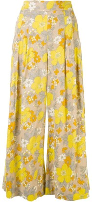 Veronica Beard Cropped Flare Floral Trousers