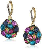 """Betsey Johnson Garden of Excess"""" Blue Multi Faceted Stone Cluster Round Drop Earring"""