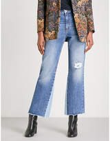 Sandro Distressed high-rise wide jeans