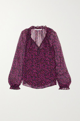 Veronica Beard Antonette Ruffled Floral-print Silk-chiffon Blouse - Red