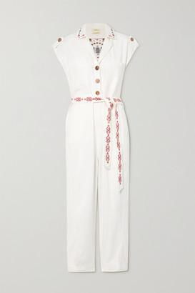 CHUFY Gouyen Belted Embroidered Cotton-twill Jumpsuit - Ivory