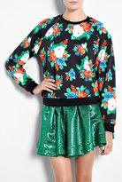 Black Floral Printed Sweater