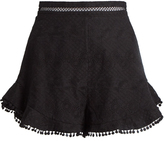 Zimmermann Caravan ruffled-hem cotton shorts