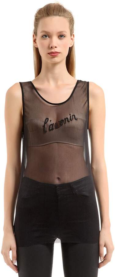 Ann Demeulemeester Beaded Silk Tulle Tank Top