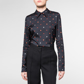 Paul Smith Women's Navy 'Peach And Lips' Print Top With Collar
