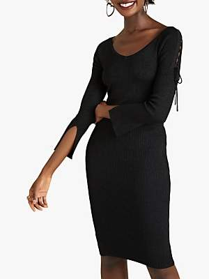 Yumi Tie Detail Party Dress, Black
