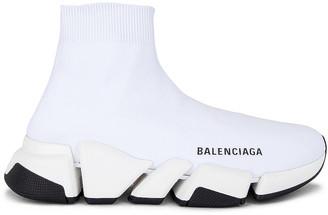 Balenciaga Speed 2 Low Top Sneakers in White & White & Black | FWRD