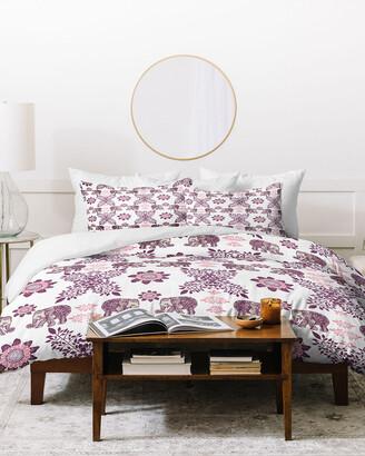 Deny Designs Rosebudstudio Boho Pink Elephant Duvet Cover Set