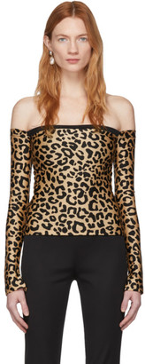 Halpern Tan and Black Leopard Bare Shoulder Top