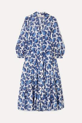 Diane von Furstenberg Kiara Printed Cotton And Silk-blend Midi Dress - Blue