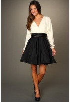 Halston Long Sleeve Silk Combo Dress with Taffeta Flared Skirt (Chalk/Black Combo) - Apparel