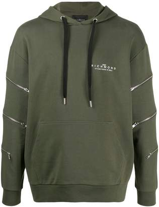 John Richmond zip-detail hooded sweatshirt