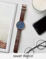 Skagen Hagen Leather Connected Smart Watch In Brown