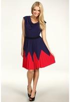 Max & Cleo Monica Pleated City Knit Dress (Dark Night) - Apparel
