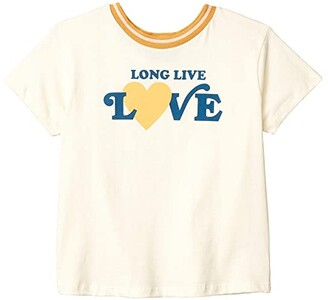 Tiny Whales Long Live Love T-Shirt (Toddler/Little Kids/Big Kids) (Natural) Girl's Clothing