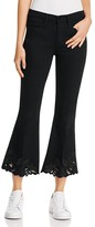 Frame Le High Flare Crop Cut Out Jeans in Noir