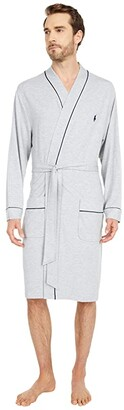 Polo Ralph Lauren Mini Terry Kimono Robe (Andover Heather/Cruise Navy Piping/Pony Player) Men's Robe