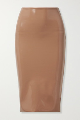 Commando Faux Stretch Patent-leather Skirt - Sand