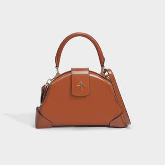 Atelier Manu Demi Top Handle Bag In Camel Patent Calf Leather