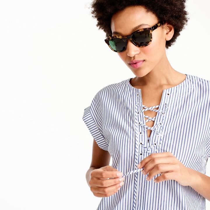J.Crew Tall striped lace-up shirtdress