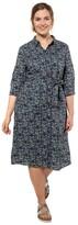 Ulla Popken Cotton Shirt Dress in Graphic Print with Tie-Waist