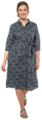 Ulla Popken Cotton Shirt Dress in Graphic Print with Tie-Waist