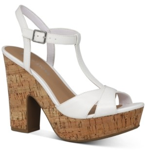 Sun + Stone Jamie T-Strap Platform Dress Sandals, Created for Macy's Women's Shoes