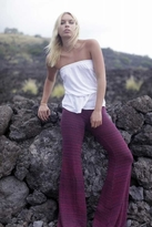 Nightcap Clothing Kasuri Flare Pant in Black/Fuchsia